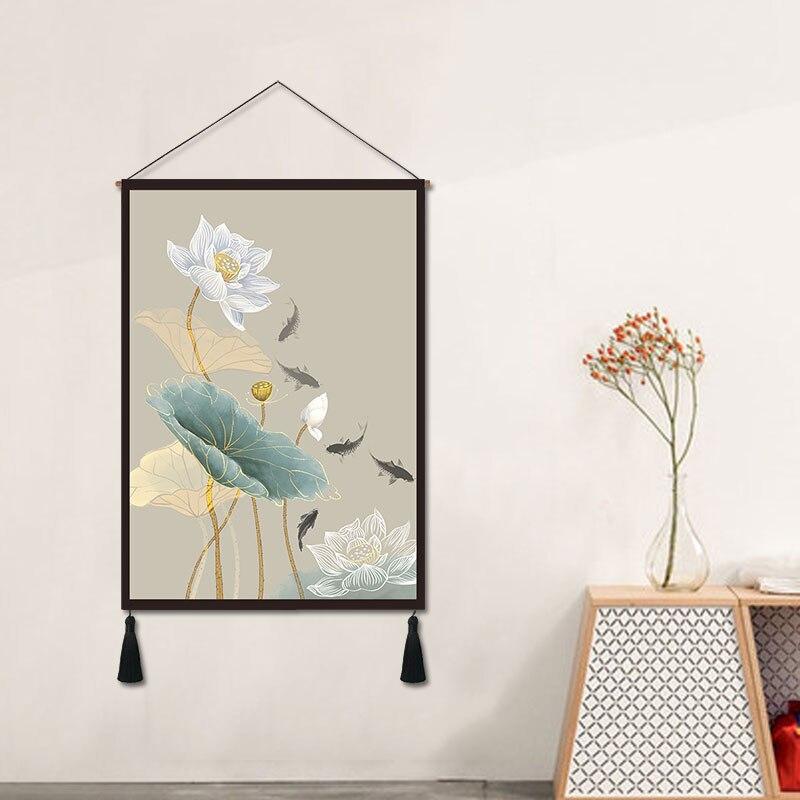 Sala de Estar Pintura Decorativa Lótus Novo Chinês Pendurado Moderna Parede Tapeçaria Casa Bandeira Pano