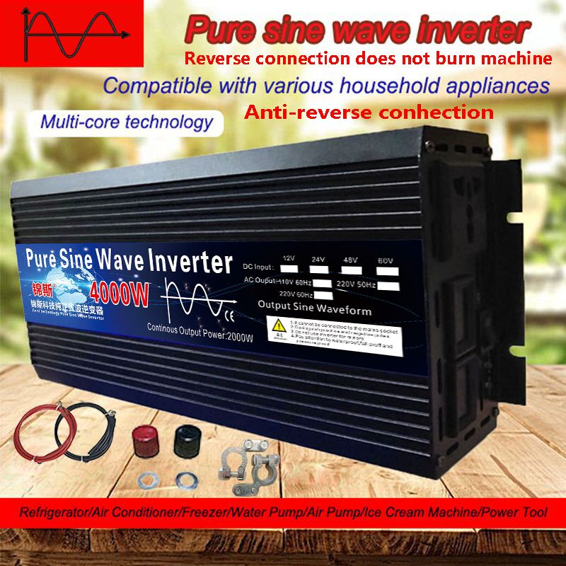 Pure Sine Wave Inverter 12V 24V 48V 60V 220V 3000w 4000w Voltage Transformer Solar Power Inverter DC12V to AC 220V Converter LED
