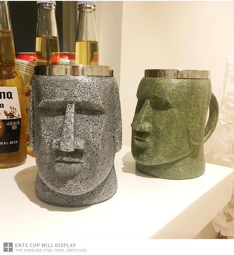 Jarro de cerveza para hombre de piedra insular de Pascua, barra retro de acero inoxidable, abridor de cerveza