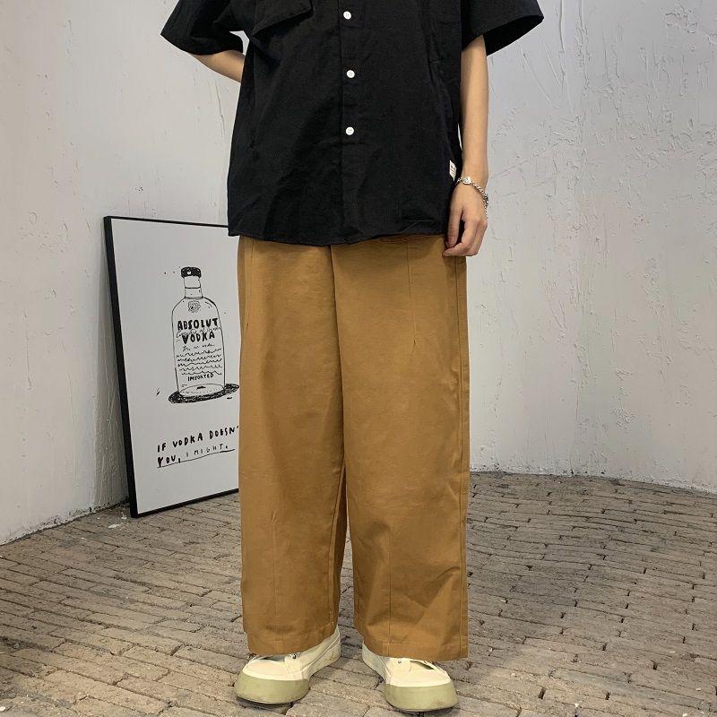 Повседневные брюки Ginger, модные мужские брюки в Корейском стиле, мужские брюки оверсайз с широкими штанинами, мужские Ретро свободные прямые...