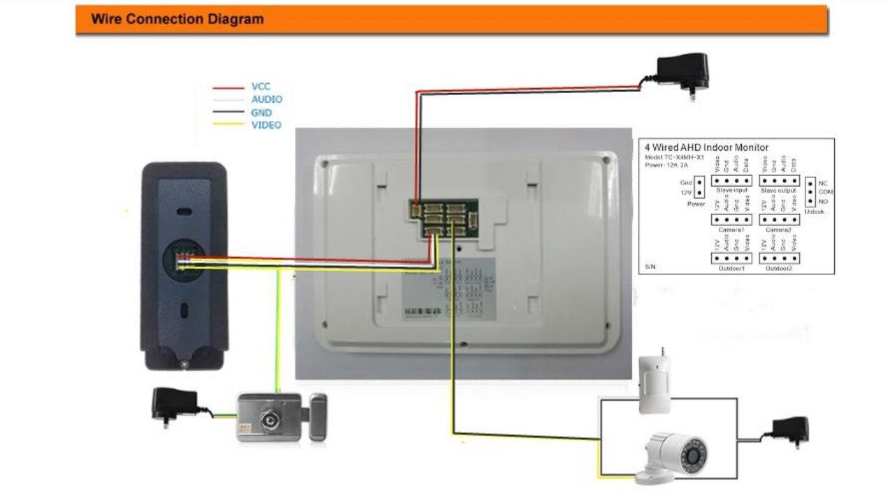 video door bell monitor kits 4 Wire Intercom System Video Door Phone Door Bell Security Tools enlarge