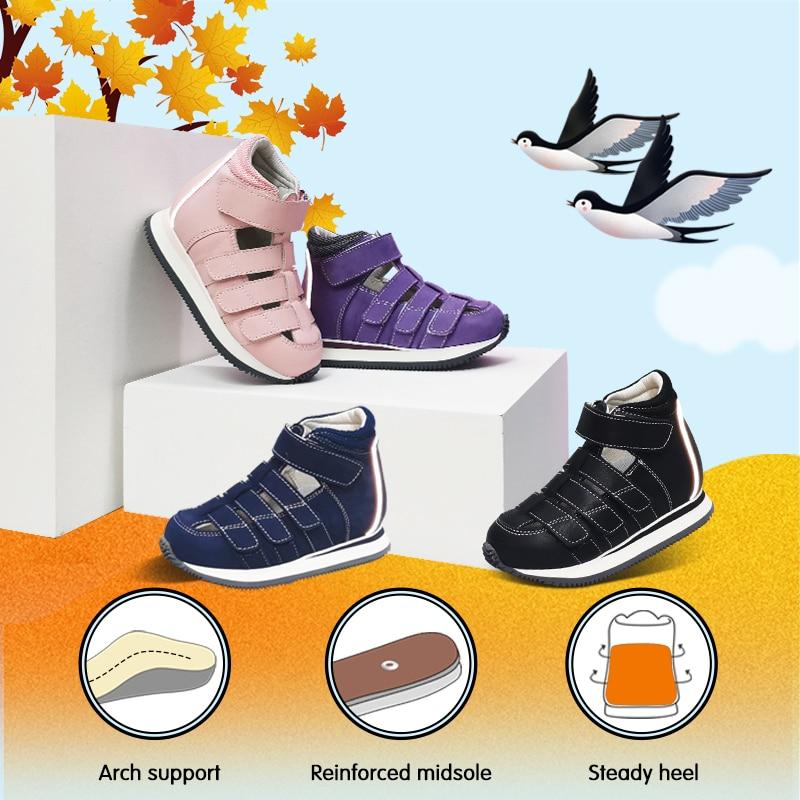 Children Shoes Girls Genuine Leather Orthopedic Sandals Toddler Kid Kindergarten Flatfeet Clubfoot Footwear With Orthotic Insole enlarge