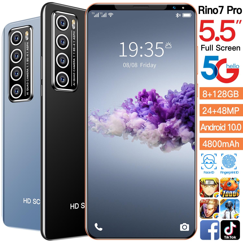 New Arrival Rino7 Pro 5.5Inch Full Screen 5G Smartphone 8+128GB 24MP+48MP 4800MAH Finger Face Unlock Dual SIM Card Android 10.0