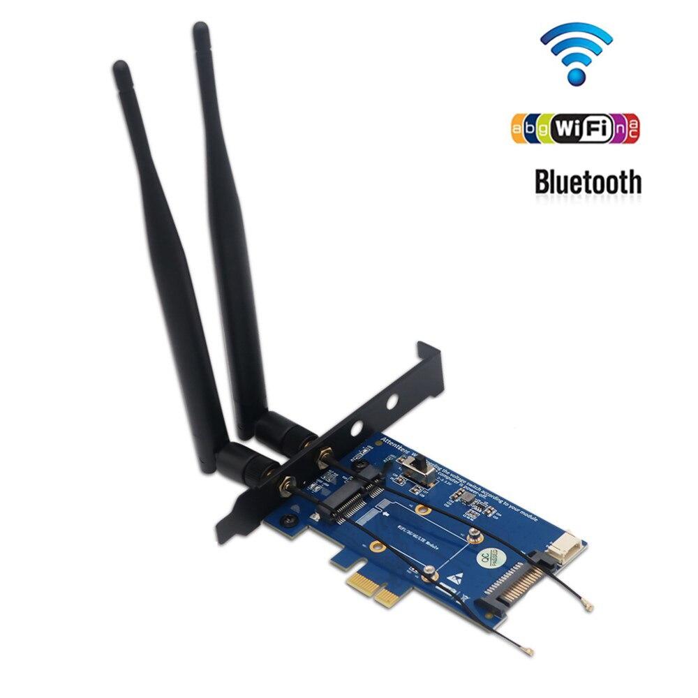 محول PCI-E PCI Express to PCI-E 1x مصغر مع فتحة للبطاقات SIM للواي فاي وبطاقة 3G/4G/LTE