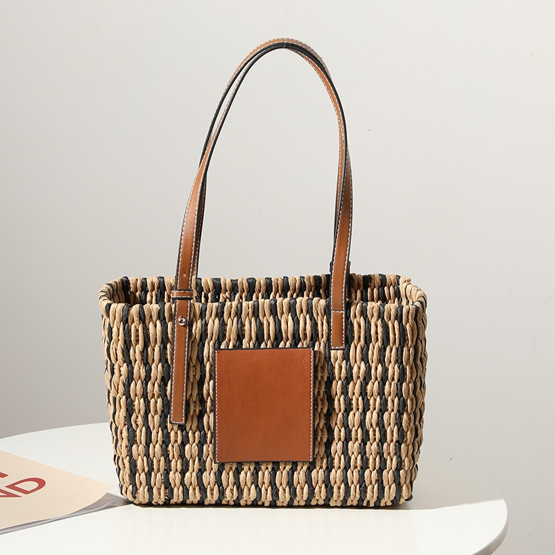 Fashion Pu Leather Splice Straw Bags for Women 2021 Striped Woven Women Handbag Large Paper Rope Braided Shoulder Bag Beach Tote