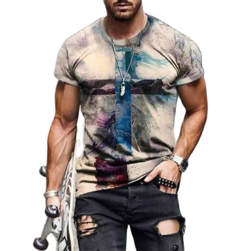 AliExpress - 2021 summer new fashion men's and women's cross pattern printing T-shirt casual 3dt Elements trendy street style shirt