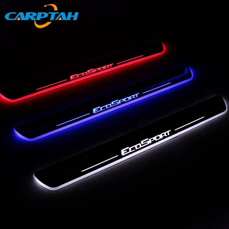 Carptah guarnição pedal peças exteriores do carro led peitoril da porta placa de chinelo caminho dinâmico streamer luz para ford ecosport 2013 - 2019