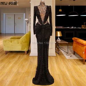 Black Deep V Neck Evening Party Gowns For Saudi Arabia Newest Custom Beading Sequins Prom Dresses Pageant Long Dress 2020 Dubai