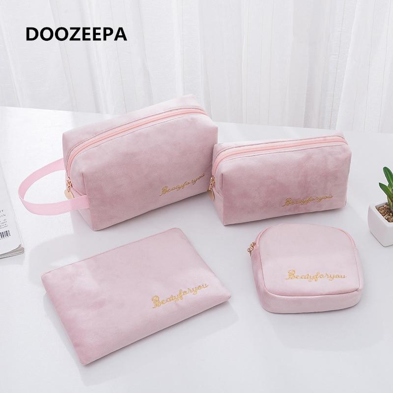 DOOZEEPA bolsa de cosméticos para mujeres, bolsa de almacenamiento de terciopelo suave, almohadillas de maquillaje, paquete de artículos de aseo, bolsa de maquillaje de viaje, bolsa organizadora, estuche de belleza