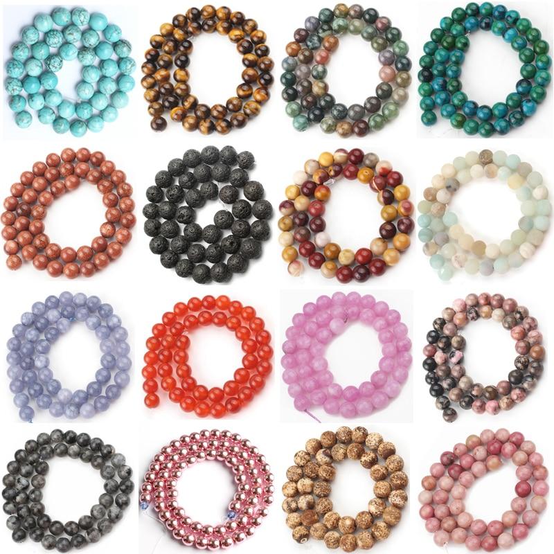 """Gema natural ágata jades jaspers contas de pedra de quartzo howlite contas soltas redondas para fazer jóias diy charme pulseira 4-12mm 15"""""""