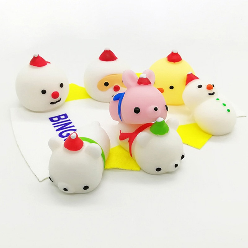 8PCS/Lot Funny Gift Christmas Squishy Toy Cute Animal Anti-stress Ball Squeeze Rising Toy Abreact Soft Sticky Stress Relief Toys enlarge