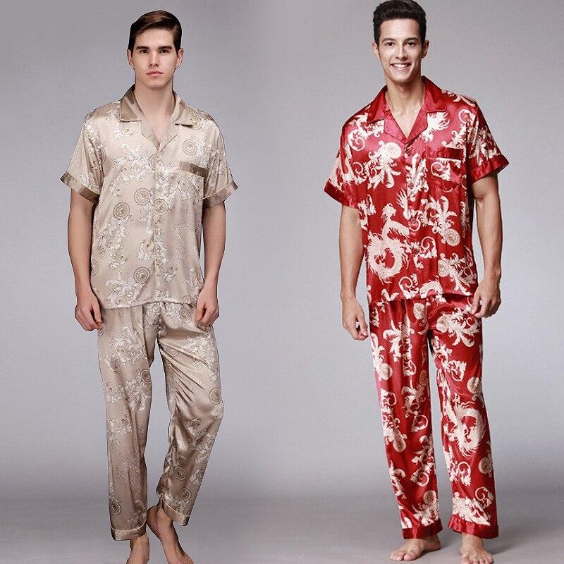 Мужчины пижамы комплект шелк шорты рукав одежда для сна с v-образным вырезом дом одежда пижамы для мужчин пижама плюс размер из двух частей ночное белье