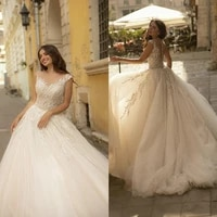2021 new wedding dresses capped sleeve applique beads lace bridal gowns custom made button back sweep train a line wedding dress