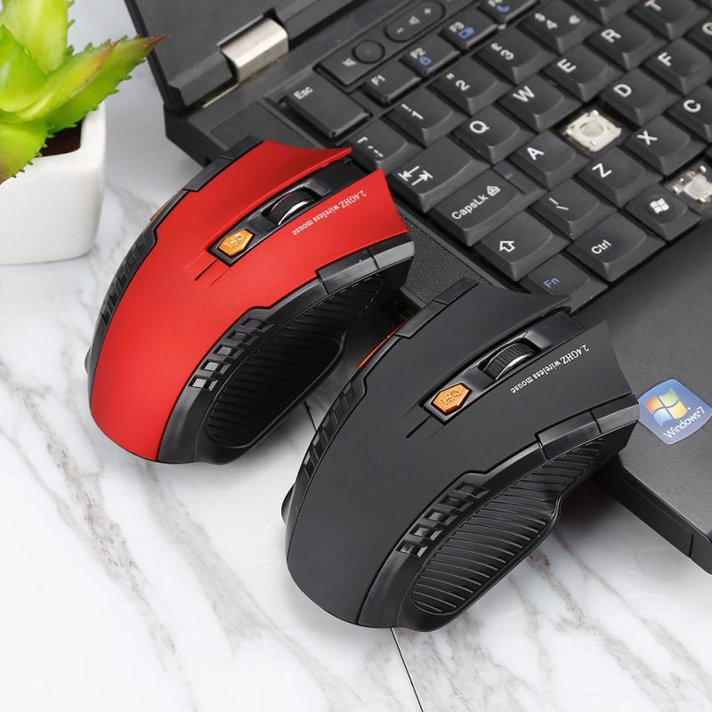 Ratón óptico inalámbrico para juegos de 2,4 GHz para ordenador portátil y ordenador con receptor USB 1600DPI ratón para juegos 6 teclas ratón