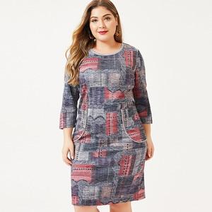 2020 autumn mom clothes Long sleeve Printed dress fashion ladies Vintage elegant Plus Size Womens dresses