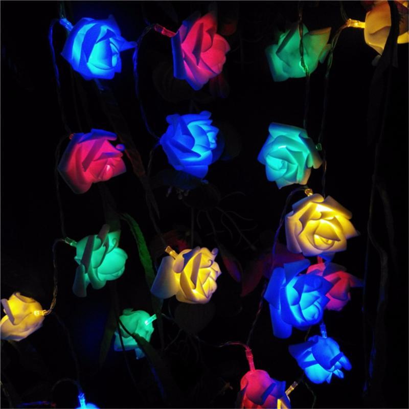 Luces de cadena de hadas de flor de Rosa para fiesta de boda de Navidad luces de cadena de flores de Rosa rojo de hadas/RGB/blanco cálido LED noche 1,2 M