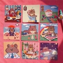 9PCs/lot Cute Soft Bear Card Graph Wall Decoration Poster Hand Account Book Postcard Korean Photo Props Decorative Sticker