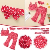 6m 4y toddler kids baby girls summer outfit red love print bow knot suspender vest pants outfits set peuter kleding meisje e1