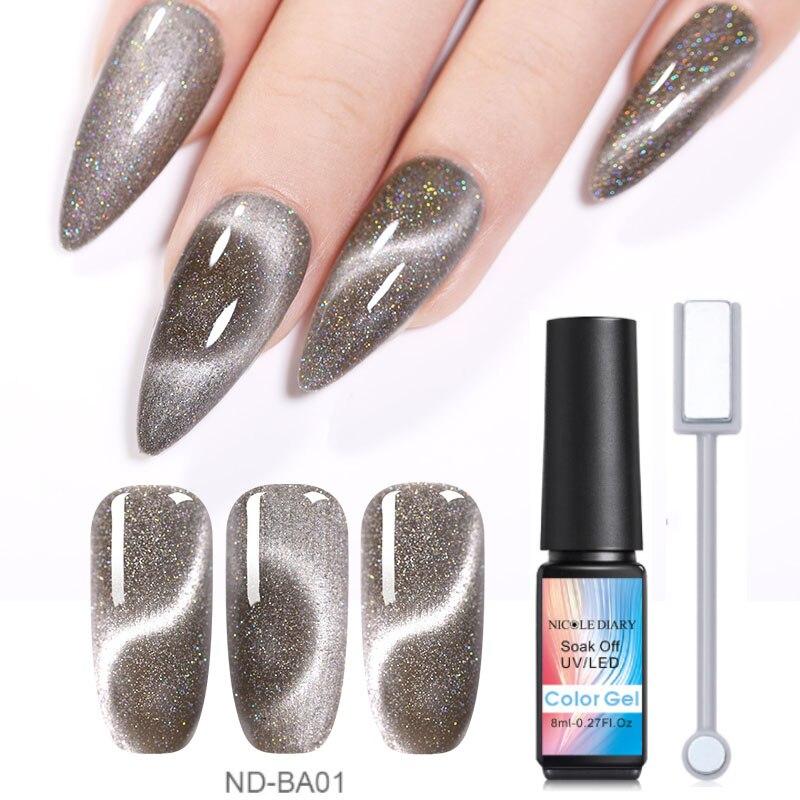 Nicole Dagboek 8 Ml Cat Eye Uv Gel Soak Off Nail Art Gel Polish Magneet Laser Nail Uv Gel Nail poolse Varnish Vernis