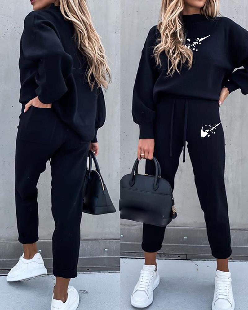 Mode 2 pièces ensemble automne hiver pull à capuche + pantalons longs femme sport costume sweat costume pour femme nouveau