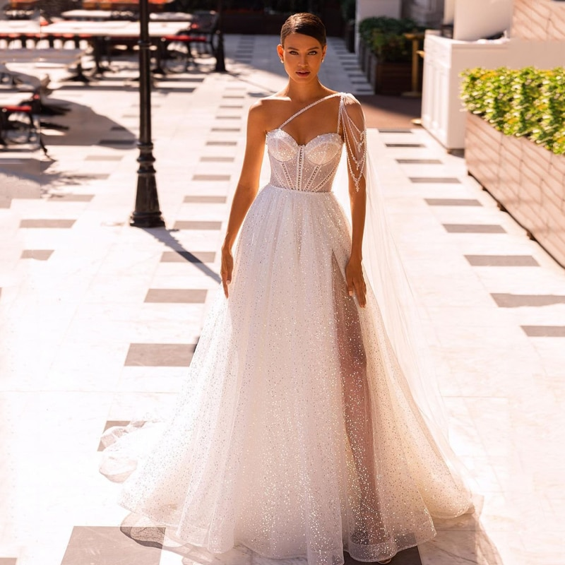 Review Eightree Boho Beach Wedding Dresses Glitter Sequins Beading Bridal Dress Corset Back Tulle A-Line Long Wedding Gowns Custom Size