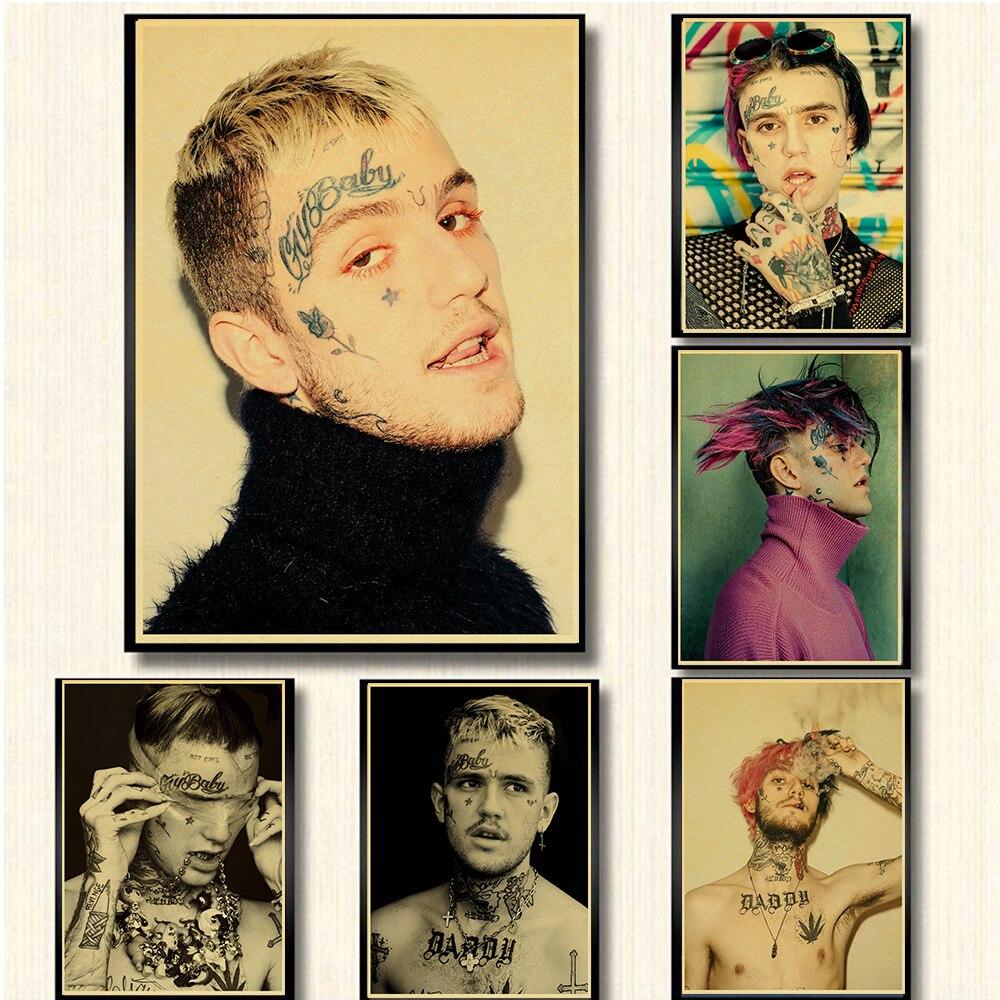 Rapero de Hip Hop de EE. UU., cartel Retro Lil Peep, papel Kraft, arte Vintage, impresión de alta calidad, pintura decorativa de pared con núcleo de dibujo