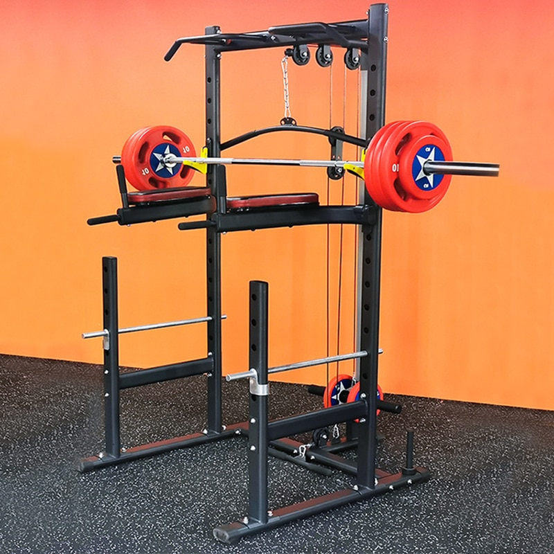 Deep Squatting Frame Multi-functional Horizontal Pushing Rack Lifting Bed Set High And Low Pulley Rope Pulling Smith Machine
