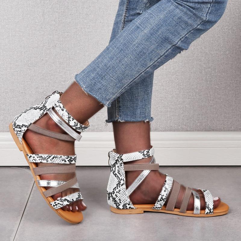 2020 Womens Summer Outside Sandals Gladiator Female Shoes  Rome Leopard Snaker Ladies Flat Cross Zipper Woman Casual Plus Size