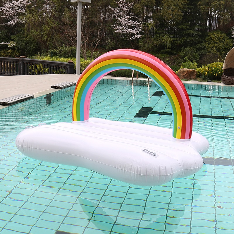 2 tamanhos arco-íris & nuvem flutuante ilha inflável cama piscina feliz flutuador barco flutua jangada