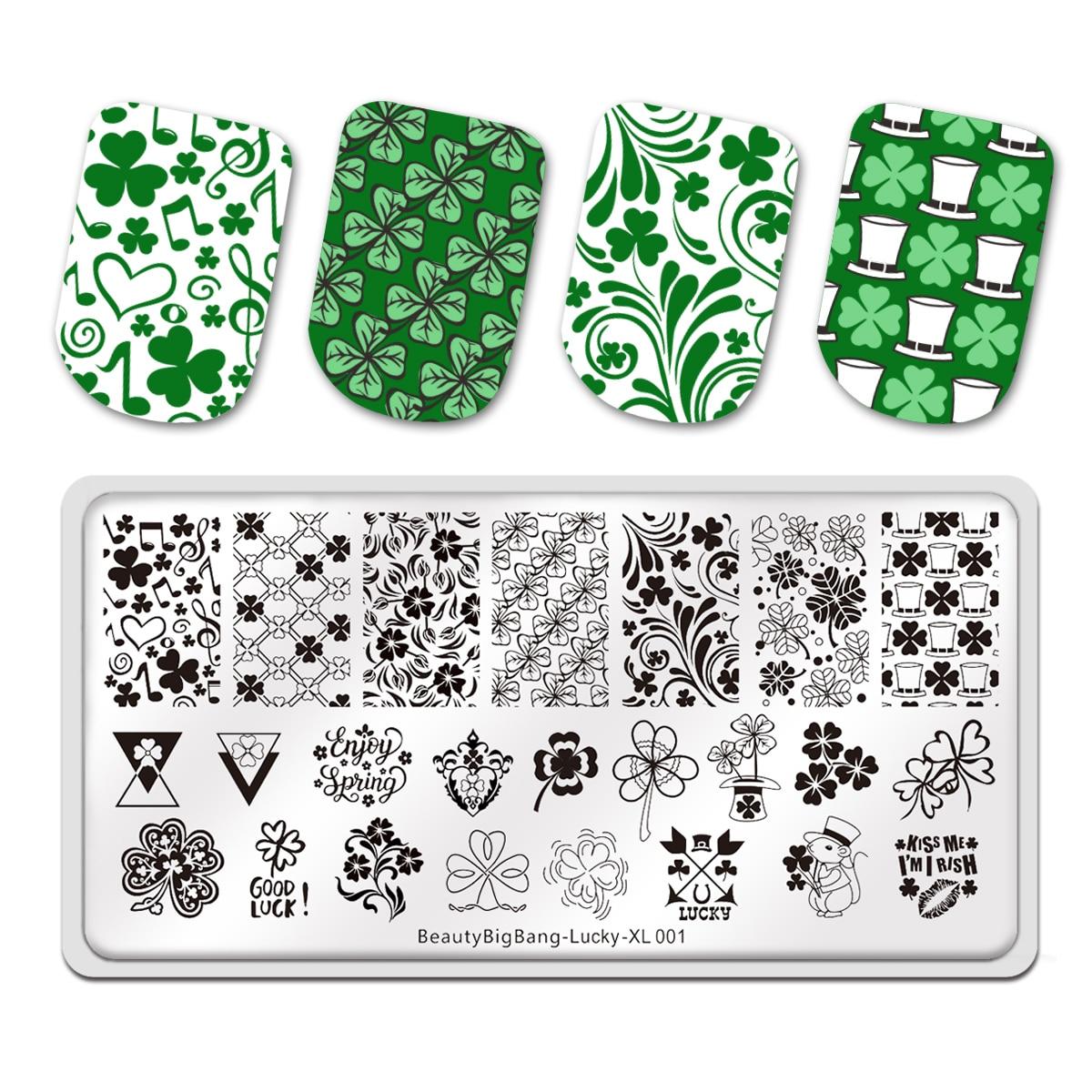BeautyBigBang rectangular para uñas placas de estampado de trébol de la suerte de cuatro hojas tema Nail Art imagen Plantilla de manicura herramienta de plantillas