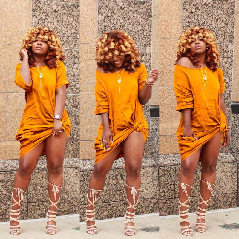 hirigin Summer Casual Solid Women Dresses Fashion Short Sleeve Long Design Plus Size Tee Shirt Ladies Dress
