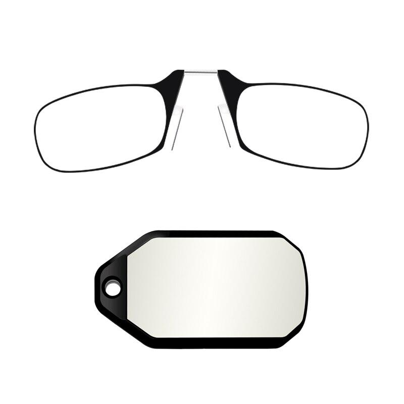 Mini clip de nariz en mini gafas de lectura hombres mujeres portátil diopter + 1,0 + 1,5 + 2,0 + 2,5 + 3,0 con brazo
