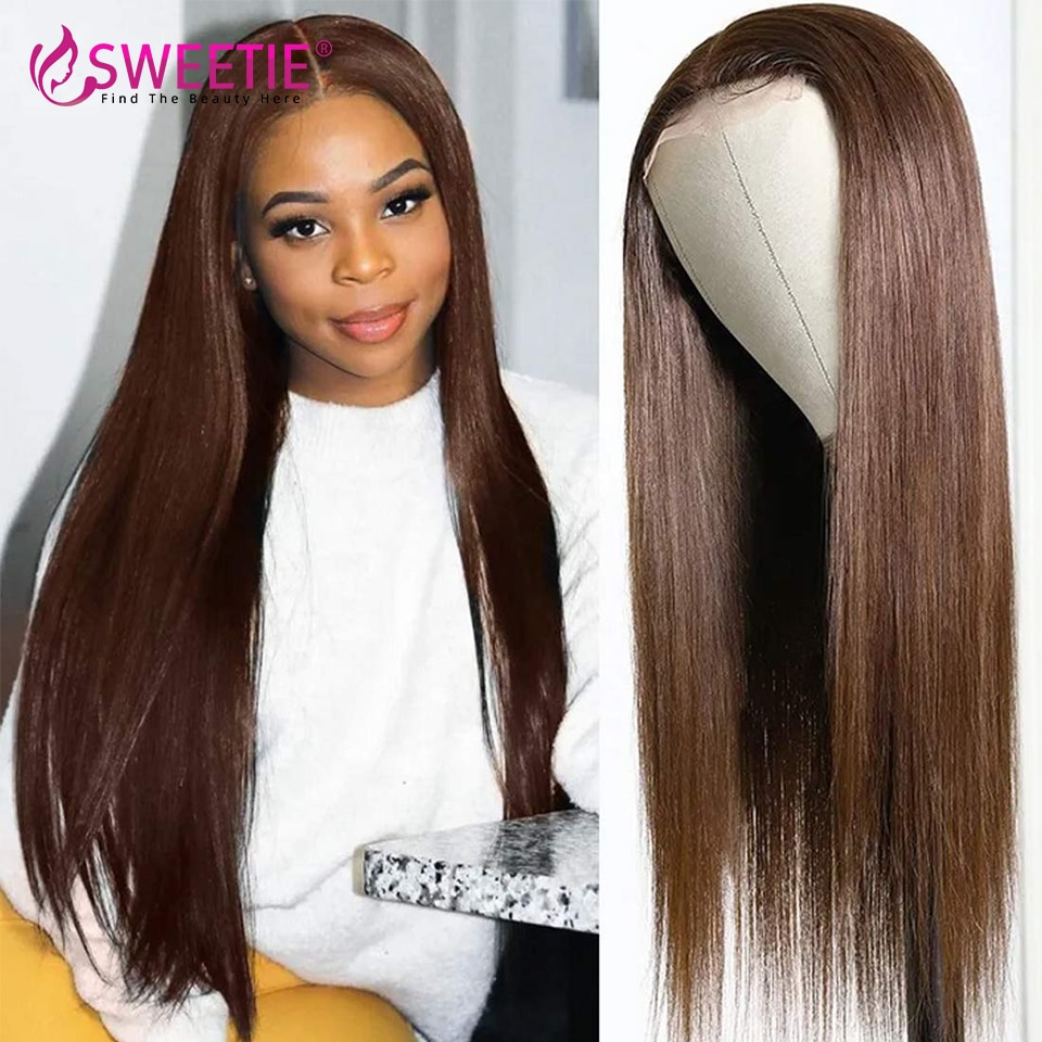 Malaysia Silky Straight Chocolate Brown 13x1 T Part 180% Guleless 13x4 Lace Front Human Hair Wigs With Baby Hair 4x4 Lace Wigs