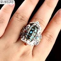 100 925 silver tibetan ring tibetan garuda dzi good luck ring turquoise agate 9 eyes dzi turning ring