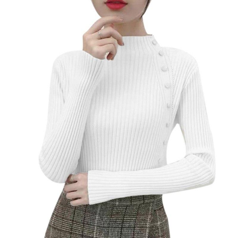Autumn winter women Knitted Half-high Collar Long Sleeve Knitwear Blouse Sweater Fashion Slim Warm Female Sweaters W2