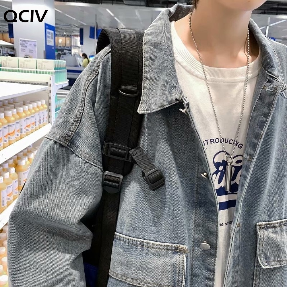 Men Jackets Solid Pockets Denim All-match Loose Korean Style Young Students Harajuku Fashion Casual Streetwear Chic Male  - buy with discount