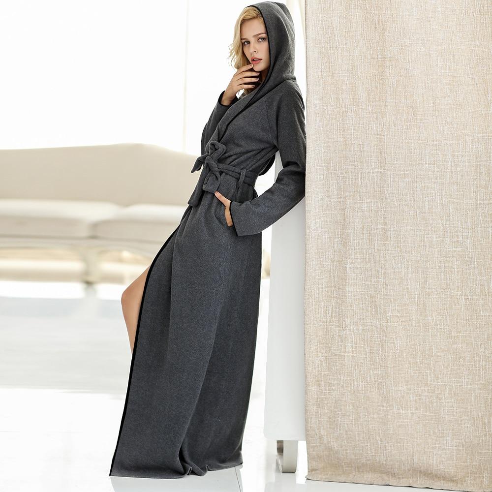Women and Men Plush Fleece Ultra Long Floor Length Hooded Bathrobe Robes Sleepwear Plus Size Nightgown Dressing Gown Lounge wear