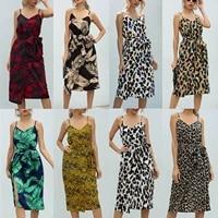 women spaghetti strap print sleeveless dress summer causal loose party dresses