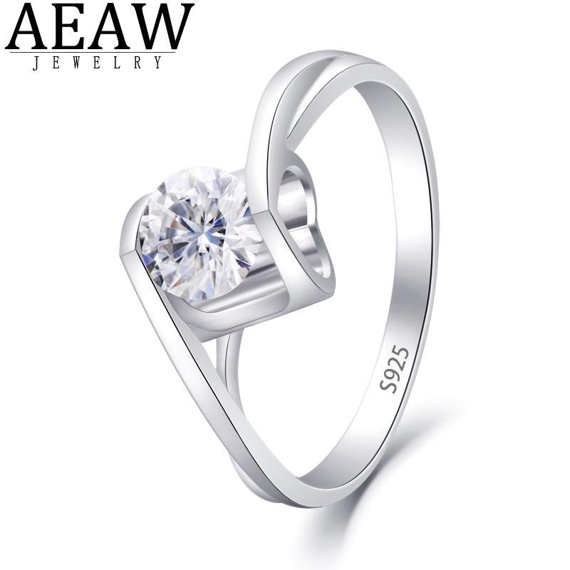 AEAW-خاتم من الفضة الإسترليني عيار 4.5 مرصع بالألماس ، خاتم مرصع بالألماس عيار 925 مللي متر قطع دائري ، تصميم رومانسي