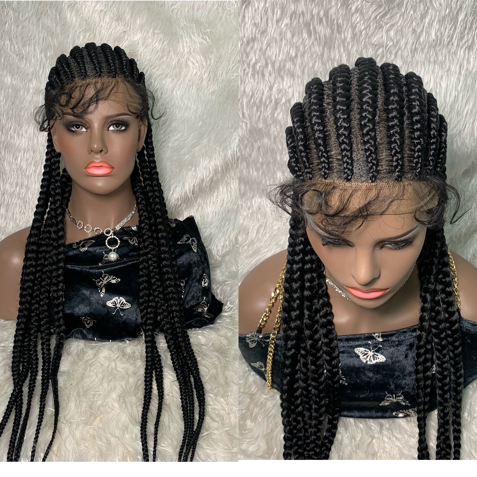 Braided Wigs Lace Front Synthetic Wig Frontal  Box TOOCCI 30 INCH Long Hair Braiding Hair Crochet Braied For Synthetic Black