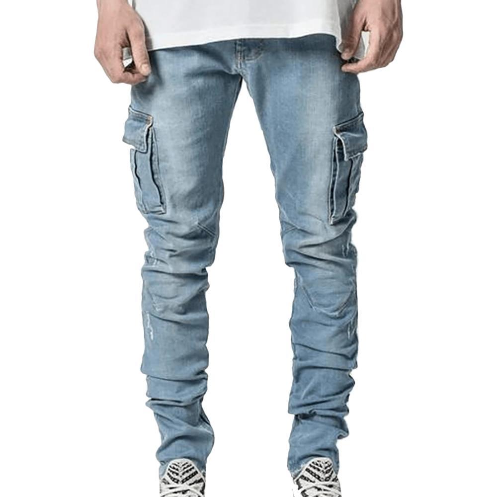 Джинсы мужские повседневные хлопковые джинсовые брюки карго с множеством карманов джинсы мужские новые модные джинсовые брюки-карандаш об...