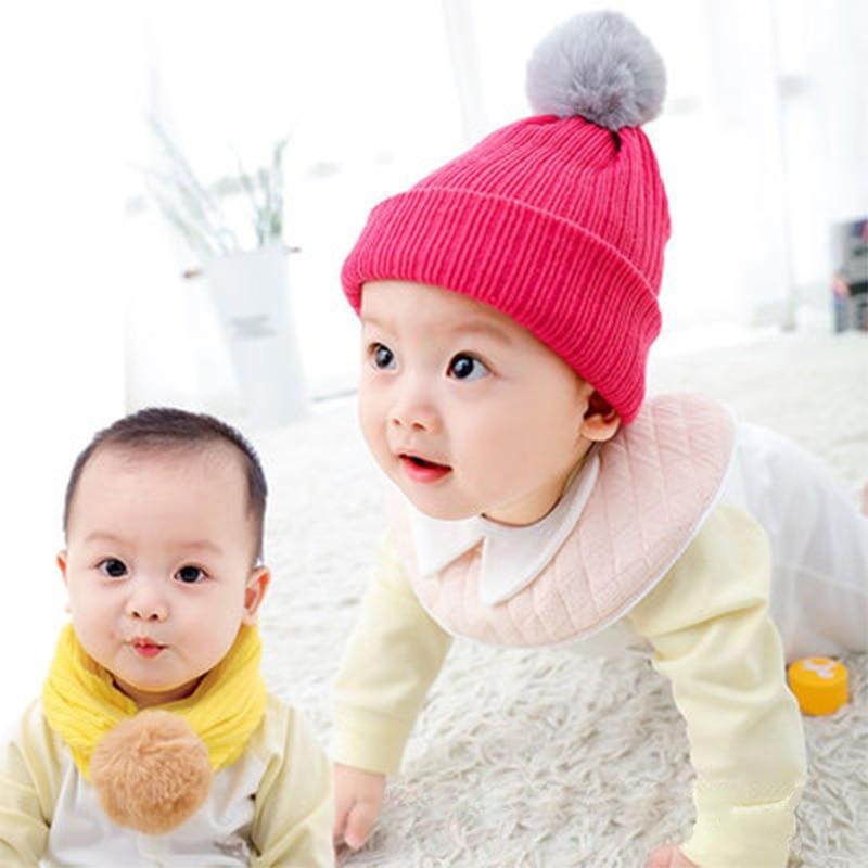 Шапки для младенцев шапки с помпонами зимние защитные новорожденных мальчиков и
