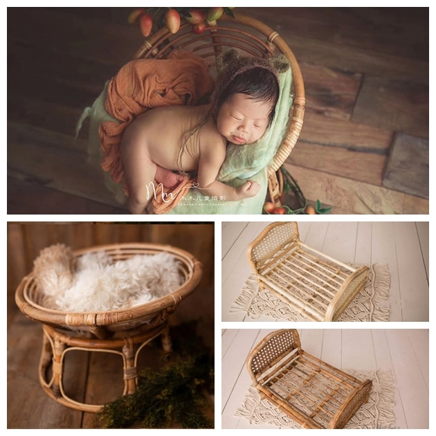 Newborn Photography Props Weaving Baskets Baby Photo Bed Posing Props Infant Photo Shoot Accessories Full-moon Baby Cany Beds