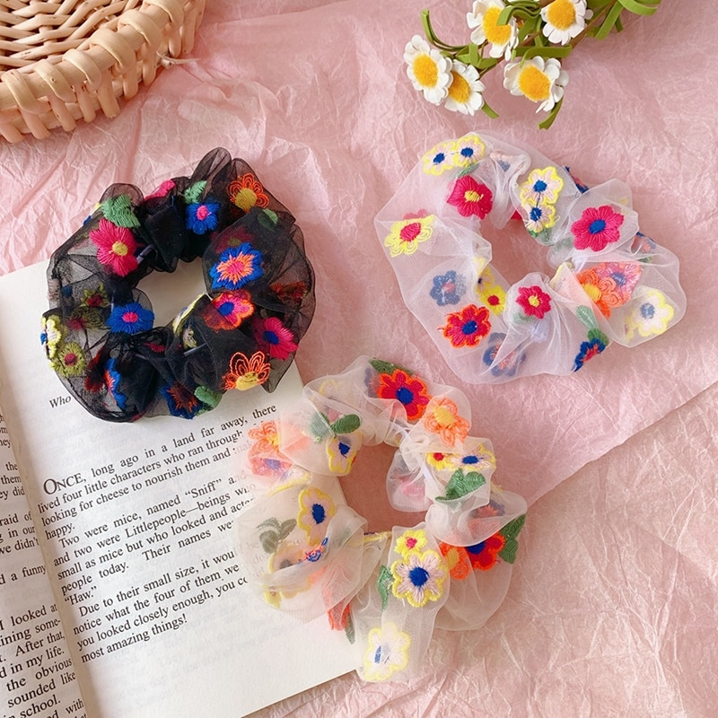 New Summer Cute Print Flower Chiffon Elastic Hair Bands Women Girls Headband Scrunchie Rubber Fashion Accessories