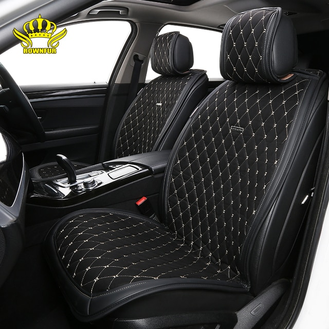 Artificial suede universal car seat cushion black 2 front luxury Cape 2 seats fit for Kia Hyundai BMW Lada car seat cover shawl