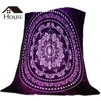 Purple Glowing Soul Mandala Printed Nap Blanket Soft Comfortable Velvet Plush Blankets Warm Sofa Bed Sheets