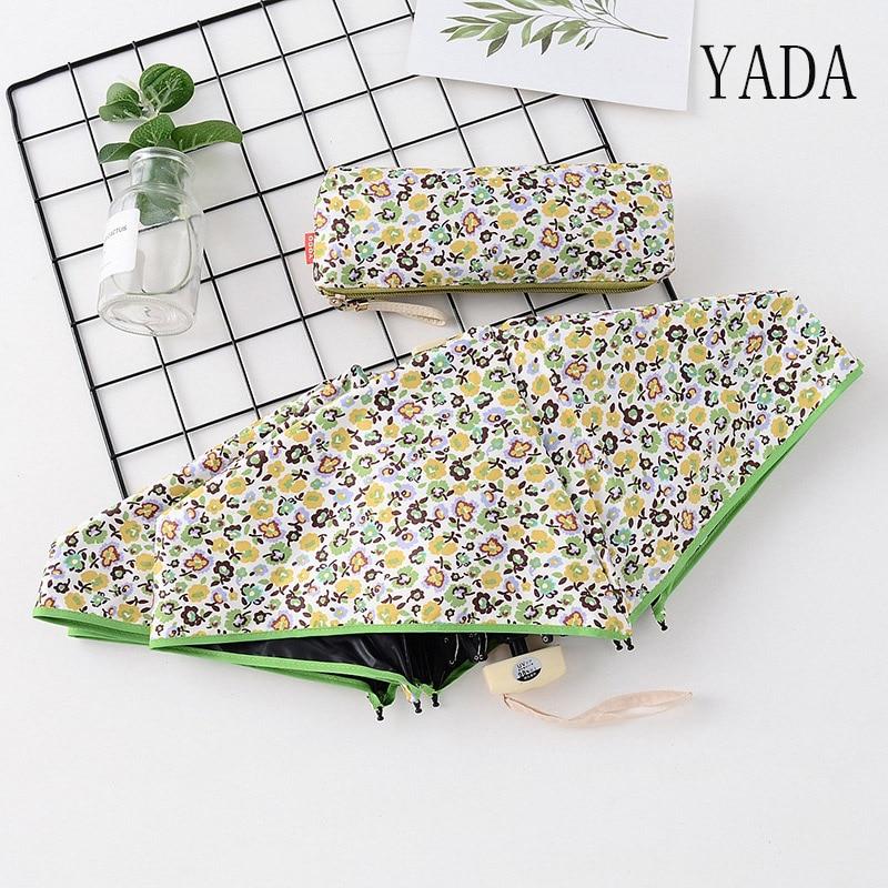 YADA-miniparaguas de flores para mujer, sombrilla de Cinco plegados uv a prueba...