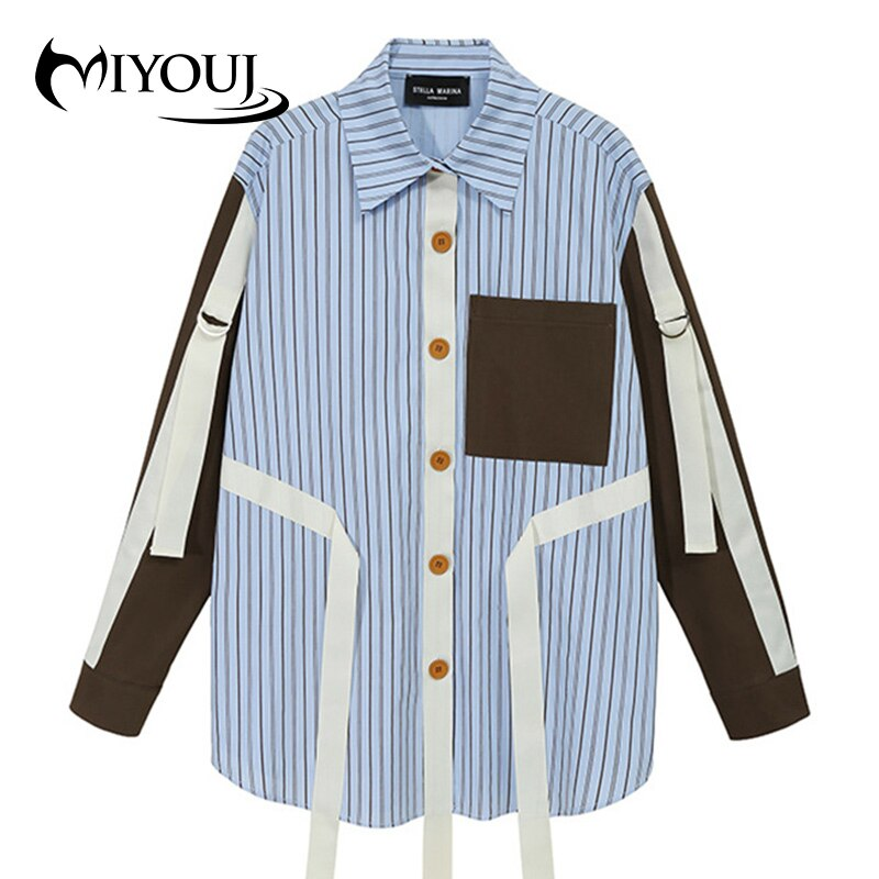Miyouj-بلوزات مرقعة على الطراز الكوري ، ملابس مخططة للخريف ، قمصان غير رسمية بصدر واحد للنساء ، 2020