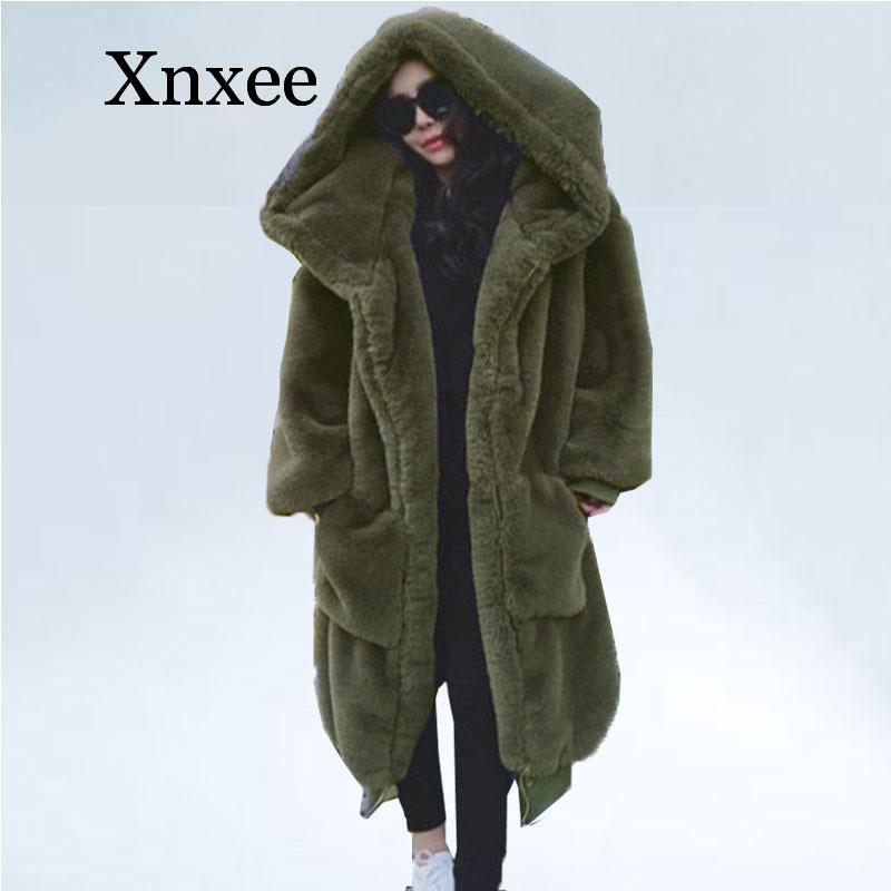 Женское пальто с искусственным мехом оверсайз, длинная парка с искусственным мехом, пальто с капюшоном, свободная зимняя верхняя одежда, ...