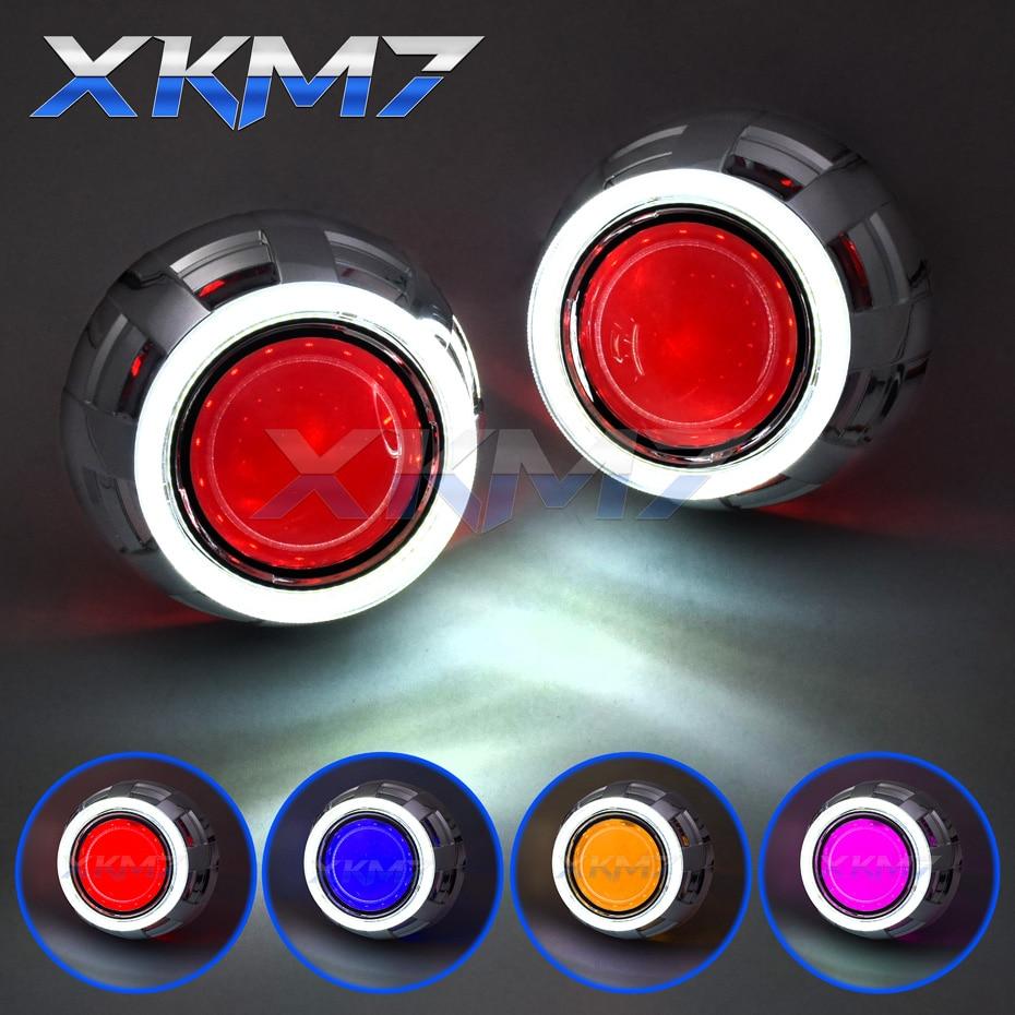 Headlight Lenses Angel Devil Eyes Bi-xenon Lens 3.0 For Auto Car Lights Accessories H1 HID Projector Metal LED Halo Kit Retrofit